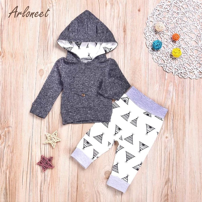 ARLONEET Baby Clothing Newborn Infant Baby Boy Girl Print Hoodie Tops+Pants 2Pcs Outfit Clothes Set Mar26
