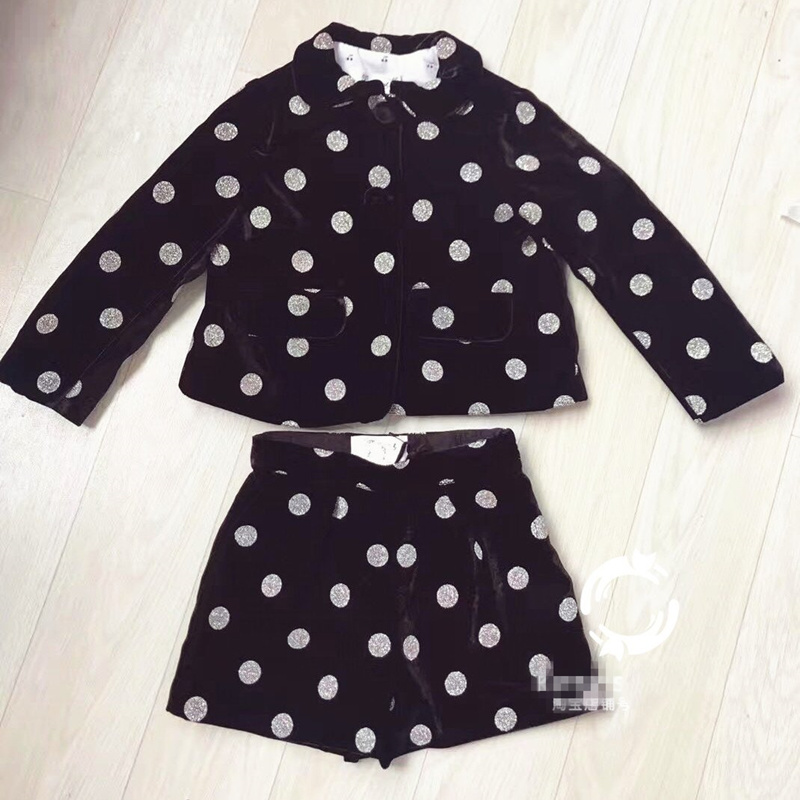 Pre-sale Autumn Winter Children's Set Black Coat&Shorts Dress Gold Polka Dot Collar Coat Party Prince Dress for Baby Girl Kids pre sale autumn winter pink gold sequins tops