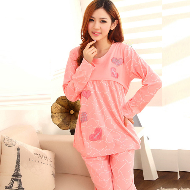 Spring and autumn pregnant women pajamas home nursing wear, plus size maternity clothes nursing pajamas suit
