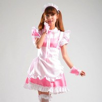 New Lovely Romantic Lolita Dress Pink and Black Lace Cute Maid Cosplay Costumes Anime Costume Cartoon Dress Suits
