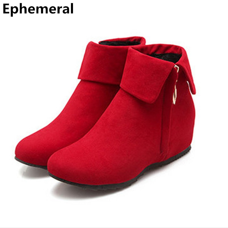 Rinding Botas Femininas Flock Zip High Increasing Boots Big size 11 12 Wedges Heels Ankle Comfort Booties Ladies Shoes Round toe yanicuding round toe women flock ankle booties metal short boots zip design luxury brand fashion runway star autumn shoes flats