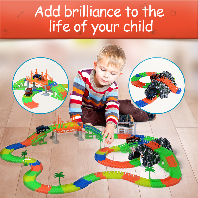 Railway Magical mini road slot stunt railroad luminous flexible glowing race track children's cars racing tracks toys for boys
