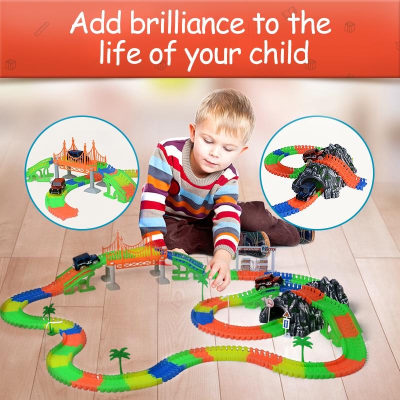 Railway Magical mini road slot stunt railroad luminous flexible glowing race track children's cars racing tracks toys for boys