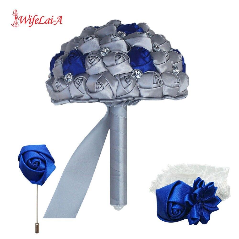 WifeLai-A (Wrist Flower And Boutonniere) Holding Bouquet  Royal Blue Mixed Silver Silk Wrist Flower Wedding Bridal Bouquet Set