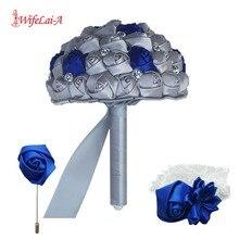 WifeLai A (Wrist flower and boutonniere) Holding Bouquet  Royal Blue Mixed Silver silk wrist flower Wedding Bridal Bouquet Set