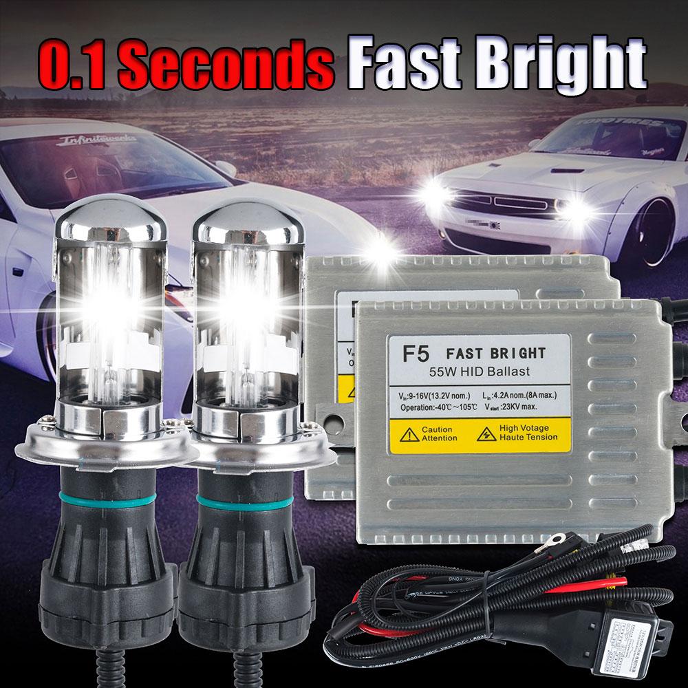 Bi Xenon H4 0.1 seconde rapide lumineux F5 AC 12 v 55 w phare lampe bi xénon hid kit H4 9003 salut Lo xenon 6000 k 5000 k 4300 k
