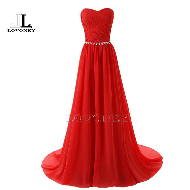 LOVONEY S305 Robe De Soiree Longue Sexy Sweetheart Backless Chiffon Beaded Long Red   Prom     Dresses   2019 Formal   Dress   Evening Gown