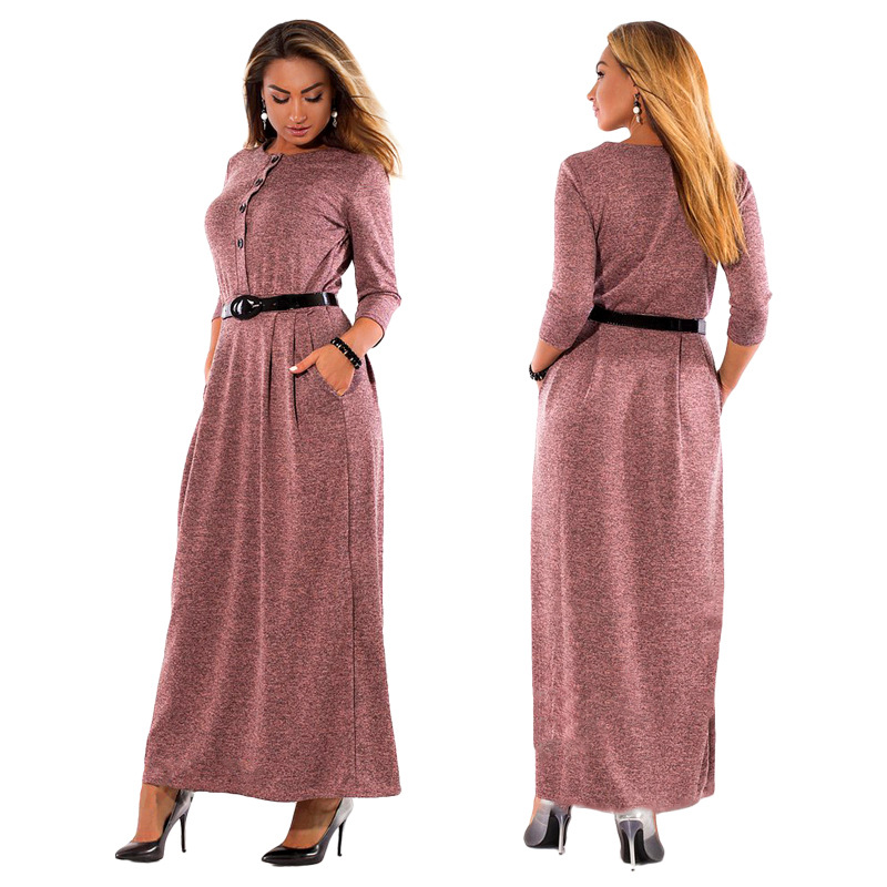 5XL 6XL Robe 2018 Autumn Winter Dress Big Size Elegant Long Sleeve Maxi  Dress Women Office c1ff3b17bdba