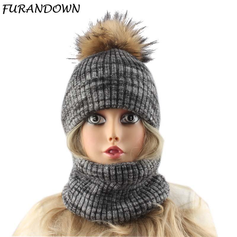 women winter knitted wool hat warm fleece inside   beanie   hat with scarf real fur pompom   skullies     beanies   for ladies