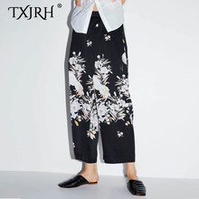TXJRH 2019 Vintage Ethnic Floral Crane Print High Waist Loose Wide Leg Pants Fashion Women Full Length Trousers Pantalones