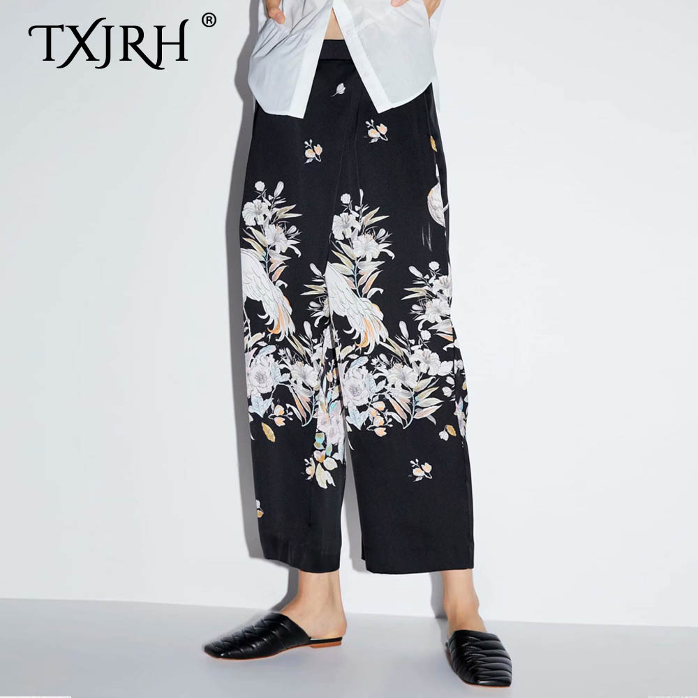 TXJRH 2019 Vintage Ethnic Floral Crane Print High Waist Loose   Wide     Leg     Pants   Fashion Women Full Length   Pants   Trousers Pantalones