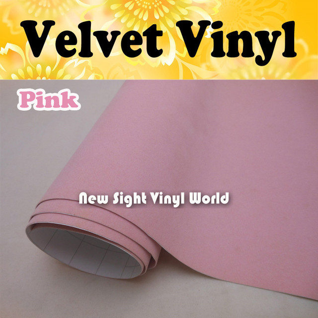 Pink velvet vinyl film pink suede fabric vinyl sticker for internal decoration air free bubble size