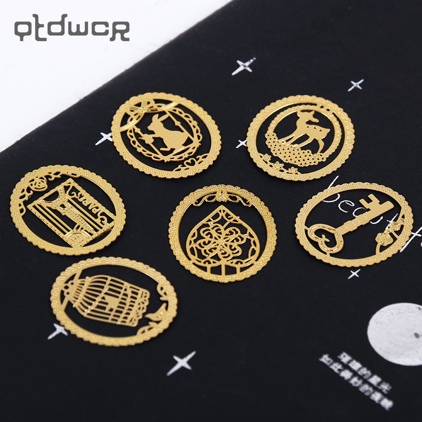 1PC Kawaii Gold Metal Bookmark Fashion Birdcage Clips For Books Paper Creative Products Office Supplies