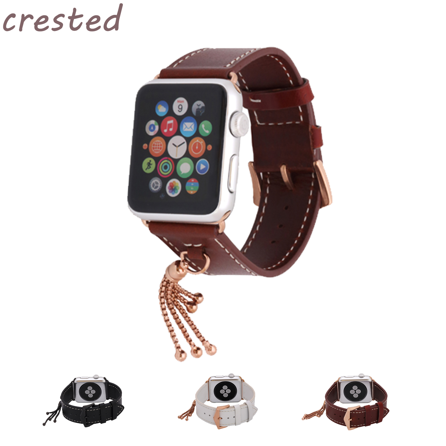 CRESTED genuine leather strap for apple watch band 42mm/38 Ornaments bracelet belt leather band for iwatch serise 1 2 3 strap woven canvas casual sports watch band iwatch strap genuine leather watch belt for apple watch