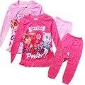 3-8A Roupas de Algodão Meninas Pijama Definir Manga Longa Homewears Camisola Cão de Patrulha Pata Pijamas das Crianças Pijamas Crianças Roupão