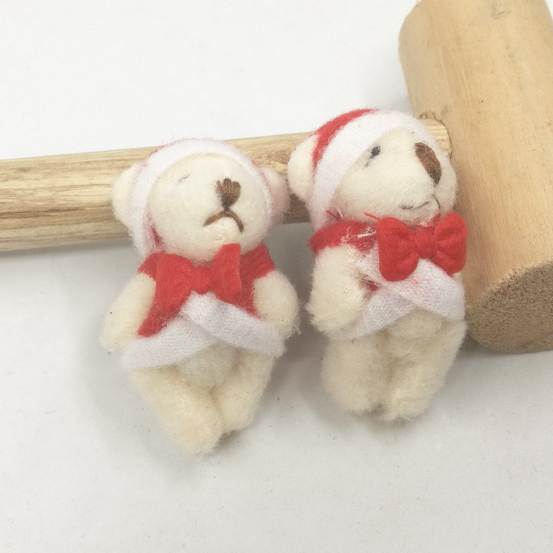 Mini Jointed Christmas Bear Dolls Cute Small Cartoon Joint Teddy Bear Dolls Keg Bag Phone Pendants Promotional Gift 4.5cm 100pcslot (1)