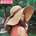 2015 moda verano mujeres para mujer ' plegable grande ancho Brim Floppy playa sombrero de Sun sombrero de paja mujeres