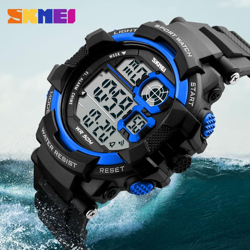 Skmei hombre grande pulsera digital relojes hombres LED Militar choque reloj  50 m impermeable moda al aire libre deportes Relojes 42fed45edadf