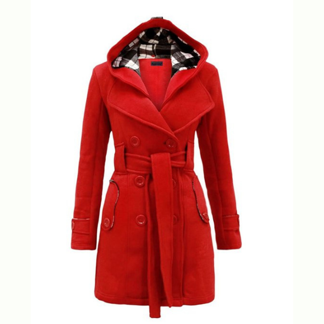 2016 New Women's Fashion Coat Jackets Trenchcoat Peacoat Hooded Raincoat Outerwear QIF