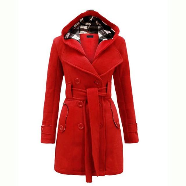 Новинка 2016 года Для женщин модное пальто Куртки Trenchcoat бушлат дождевик с капюшоном верхняя одежда QIF