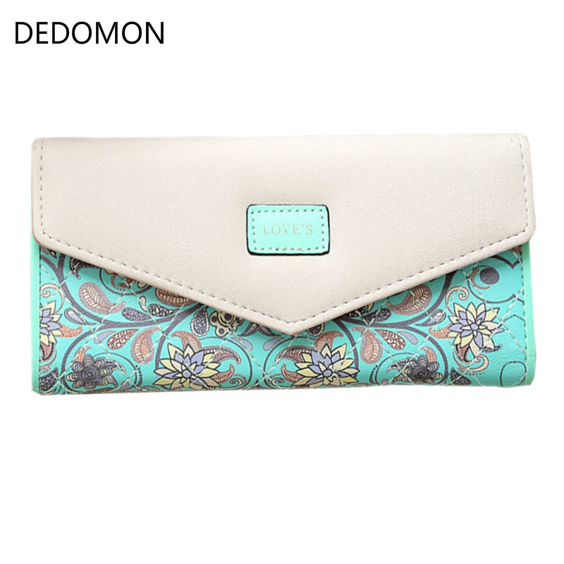Wristlet Fashion Envelope Women Wallet Hit Color 3Fold Flowers Printing 5Colors PU Leather Wallet Long Ladies Clutch Coin Purse