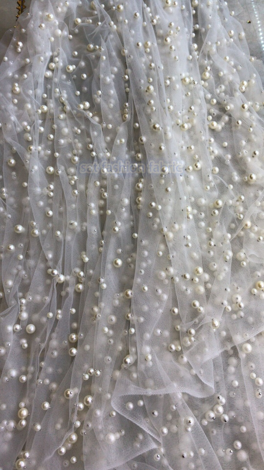 good looking sat 42061 african Indian lace fabric with full beads material for fashion dress-in Lace from Home & Garden    1
