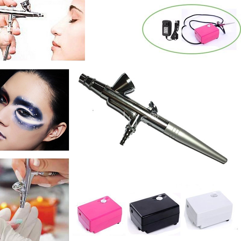 Airbrush Makeup Air brush COMPRESSOR KIT for Cake Tattoo Nail Art Body Painting ophir 0 3mm airbrush kit with mini air compressor single action airbrush gun for cake decorating nail art cosmetics ac002 ac007
