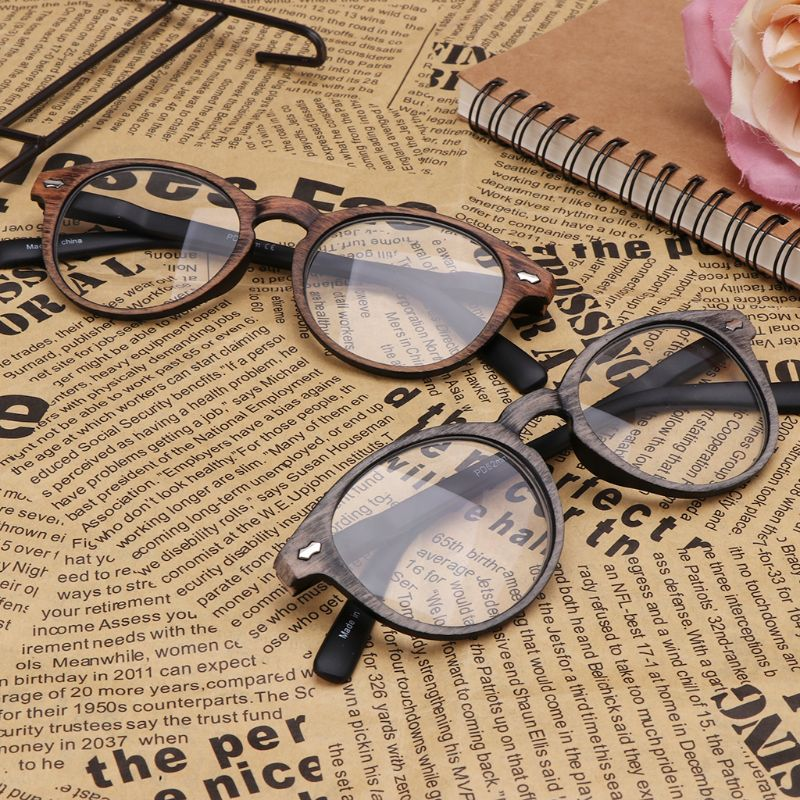 Retro Imitation Wood Reading <font><b>Glasses</b></font> For Women Men Unisex Presbyopia Radiation <font><b>Glasses</b></font> + <font><b>1.0</b></font> + 1.5 + 2.0 + 2.5 + 3.0 + 3.5 + 4.0 image