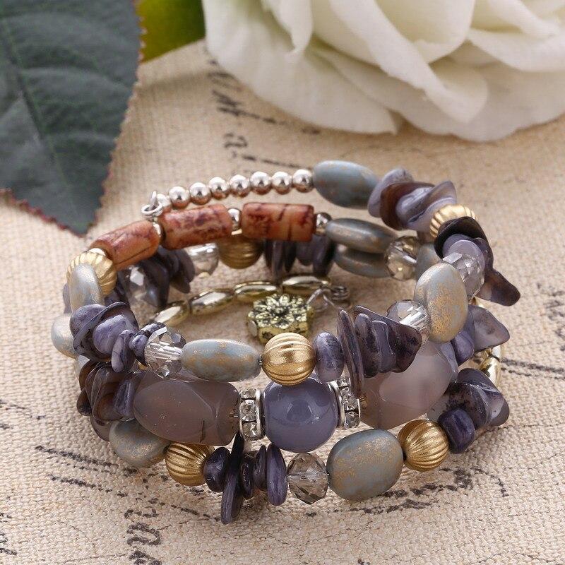 Fashion Multilayer Bracelet Set Natural Stone Beads Crystal Tassel Bracelets & Bangles Pulseras Mujer Jewelry for Women Gift