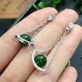 Certificated 100% natural perfect green jade earrings for women Chiristmas present natural 4.5*5mm
