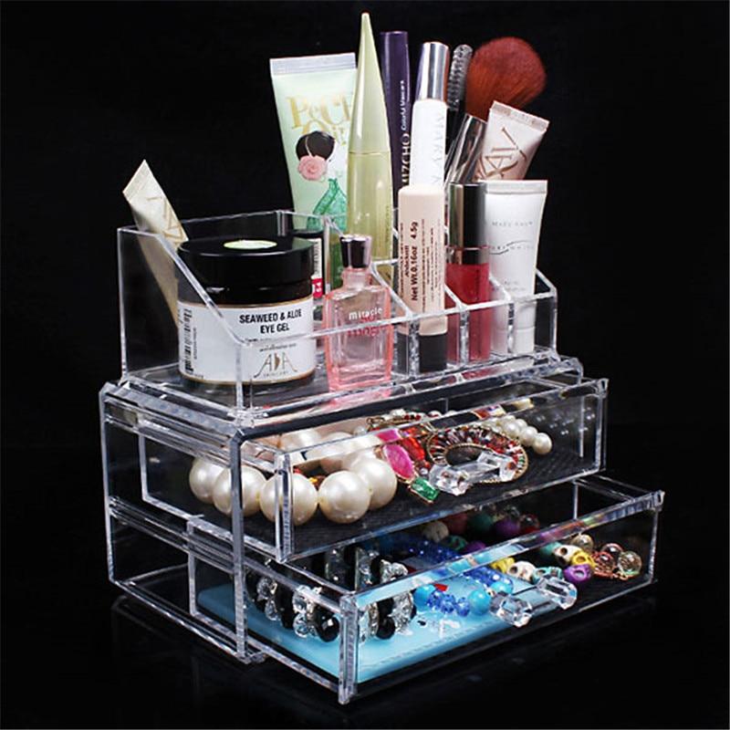 Acrylic Make up Organizer Storage Boxes Clear Makeup Organizer Cosmetics Brush nail gel Organizer Storage Drawer Set