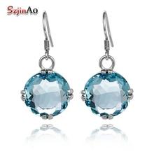 Szjinao сверкающие модные серьги круглый Аквамарин Boho Soild 925 пробы серебряные серьги для женщин Свадебные ювелирные изделия