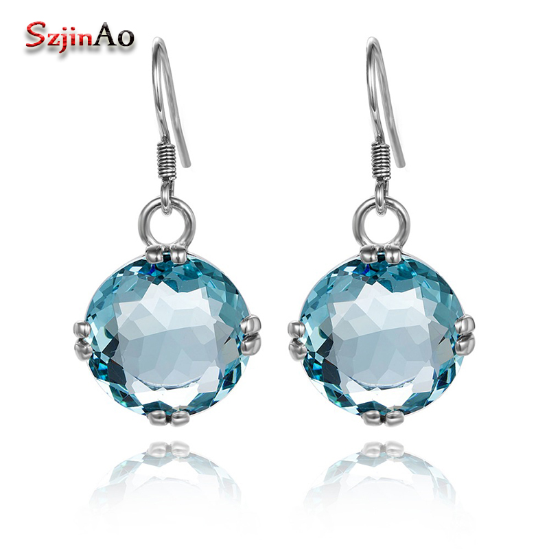 Szjinao Sparkling Fashion Earrings Round Aquamarine Boho Soild 925 Sterling Silver Earring for Women Bridal Jewelry цены онлайн