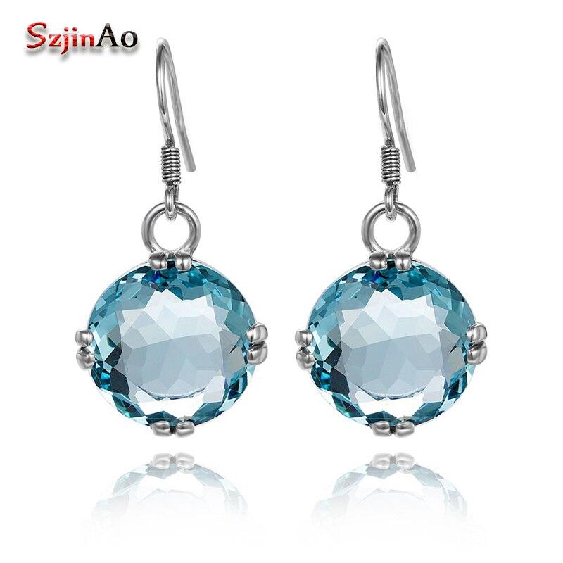 Szjinao Sparkling Fashion Earrings Round Aquamarine Boho Soild 925 Sterling Silver Earring for Women Bridal Jewelry