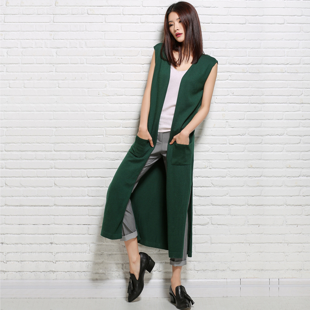 2018 New Fashion Summer Long Cardigan Vest Women Sleeveless Knitted Cashmere Sweater Korean V Neck Split Casual Female Jumper
