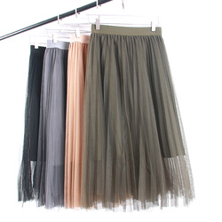 2018 Women Skirts Tulle Skirt Women Voile Mesh Brown Sugar Green Grey Black Lolita Saia Faldas Jupe Femme Tutu Skirt