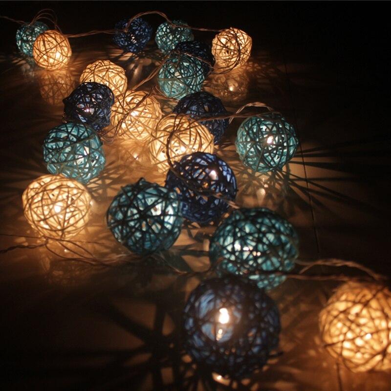 AC220v Rattan Ball string lights 3M 20led Sepak Takraw ball light lamp  Fairy light Christmas Wedding decoration party supplies pay it forward