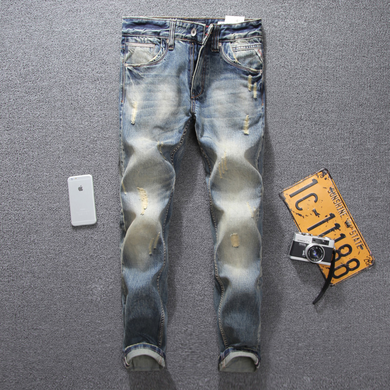 цена на Retro Design Fashion Mens Jeans High Quality Slim Fit Denim Ripped Jeans For Men Pants Brand Clothing Italian Style Biker Jeans