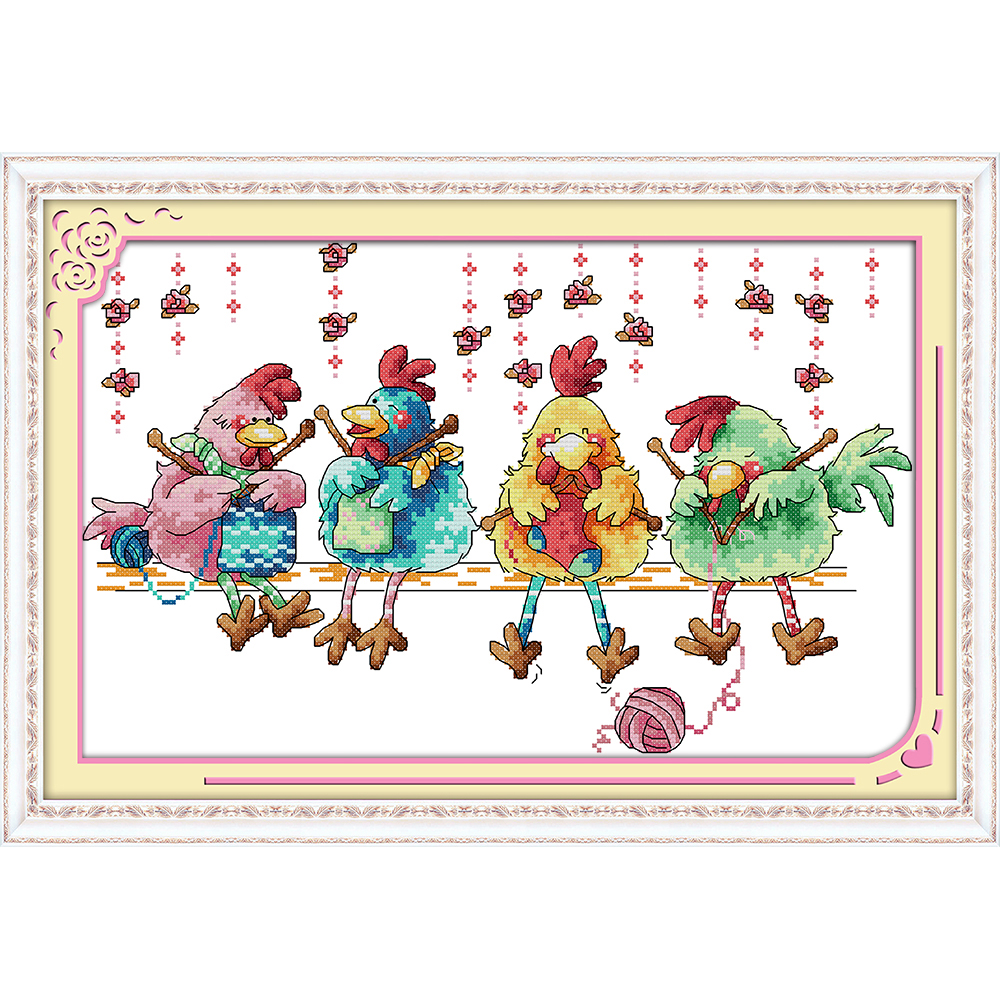 Everlasting love Christmas The chicken knitting a sweater Ecological cotton Chinese cross stitch kits stamped sales promotion