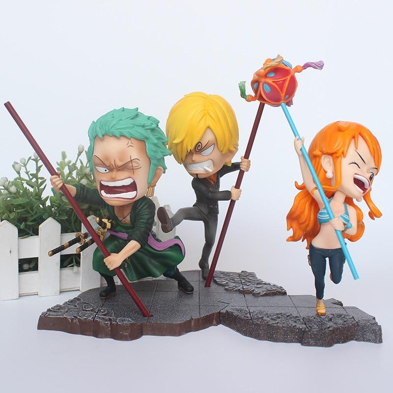 Anime One Piece GK Figurine Luffy Sanji Zoro Nami SD pvc Action Figure Collection Toys figurine