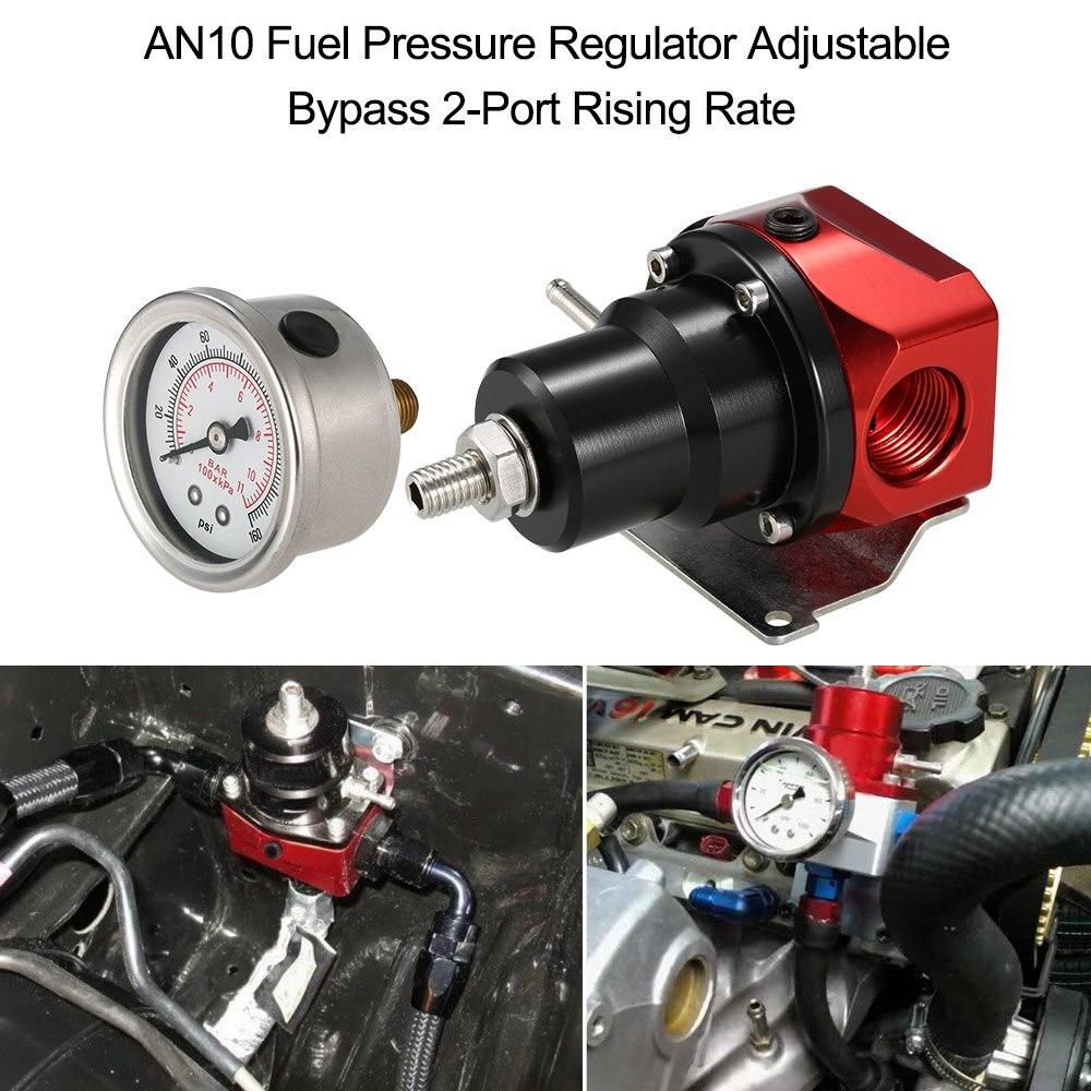 AN10 Carburant Régulateur de Pression Réglable Bypass 2-Port Taux Croissant