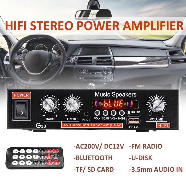 220V HiFi Amplifier bluetooth Home Theater Stereo Power Amplificador Audio Car Amplifiers FM TF AUX MP3 Player Remote Control