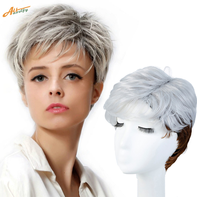 WTB Short Straight Wigs for Women Synthetic Silver Brown Ombre Hair with  Heat Resistant Cosplay Wig 3ffc49320