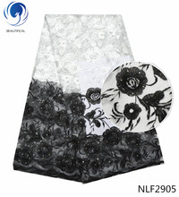 BEAUTIFICAL French lace fabrics Fashion white/black embroidery african net fabric with stoens nigerian NLF29
