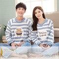 Brand Winter Couples Soft Flannel Pyjama Femme Sleepwear Coral Fleece Striped Pajama Mujer WomenMen Pajamas Sets Home CLothing
