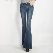 2016 new Women Flare Jeans Cotton Denim Bell Bottom Jeans Washed Elastic Pants Slim Denim Pant