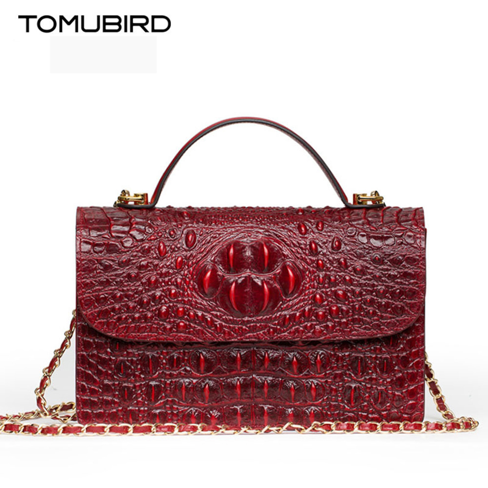 Genuine leather shoulder bag women handbag for 2017 Embossed crocodile pattern women bag chain designer female crossbody bag patent leather handbag shoulder bag for women