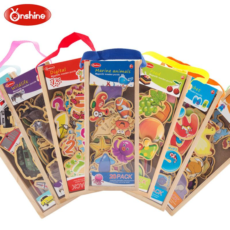 Брендовые деревянные магнитные пазлы Onshine для детей, магнитный деревянный стикер большого размера с индивидуальными упаковками, бесплатна...