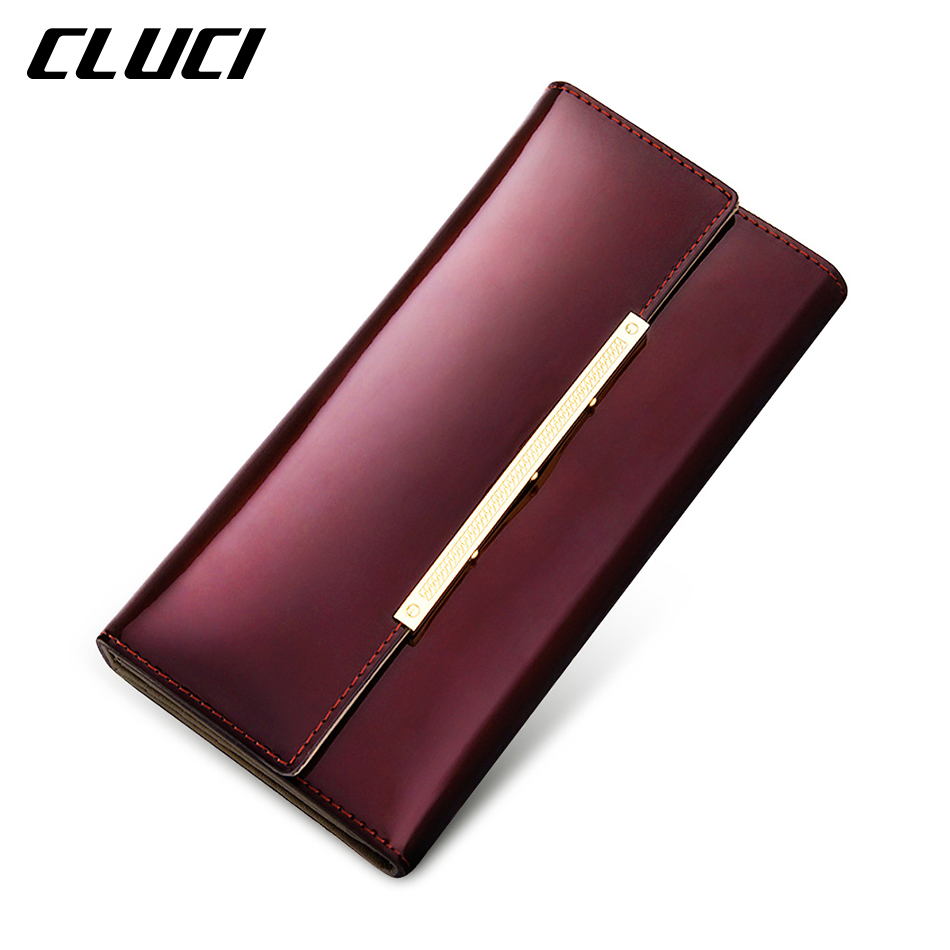 CLUCI Women s Purse Women s font b Wallet b font Paten Leather Purple Blue Golden