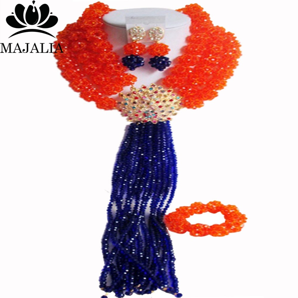 купить Fashion african jewelry set orange nigerian wedding african beads jewelry set Crystal Free shipping Majalia-356 по цене 4700.67 рублей